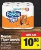 Royale Tiger Towels - 6=12 Rolls