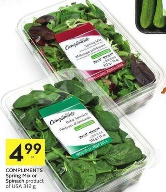Compliments Spring Mix or Spinach Product of USA 312 g