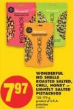 Wonderful No Shells Roasted Salted - Chili - Honey or Lightly Salted Pistachios - 155-170 g