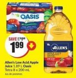 Allen's Low Acid Apple Juice 1.89 L Oasis Tetra 8 X 200 mL