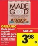 Made Good Organic Granola Bars - Mini Cookies Or Rice Crisp - 120/132 g