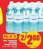 Real Canadian Natural Spring Water - Pkg Of 24