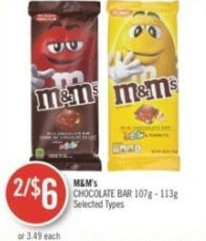 M&m's Chocolate Bar 107g - 113g
