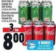 Coca-cola Or Canada Dry Soft Drinks 6 X 222 ml - Or 2.99 Ea.