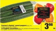 Farmer's Market Sweet Peppers - Pkg Of 4 Or English Cucumbers - Pkg Of 3