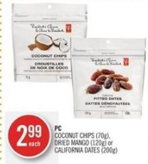 PC Coconut Chips (70g) - Dried Mango (120g) or California Dates (200g)