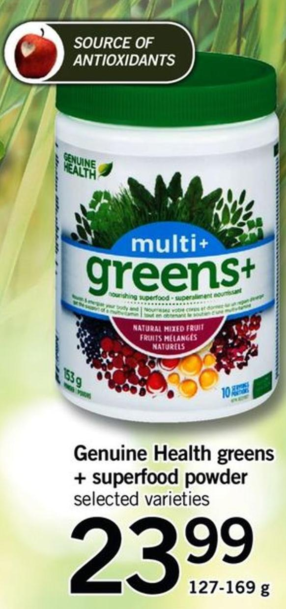 Genuine Health Greens + Superfood Powder - 127-169 G