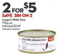 Longo's White Tuna 170g Can