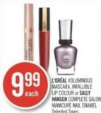 L'oréal Voluminous Mascara - Infallible Lip Colour or Sally Hansen Complete Salon Manicure Nail Enamel