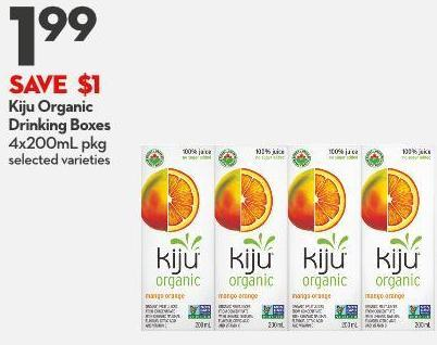Kiju Organic  Drinking Boxes 4x200ml Pkg