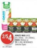 Minute Maid Juice (8 X 200ml - 10 X 200ml) - Oasis (960ml) or PC (1.89l) Beverages
