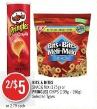 Bits & Bites Snack Mix (175g) or Pringles Chips (139g - 156g)