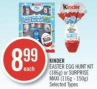 Kinder Easter Egg Hunt Kit (186g) or Surprise Maxi (116g - 150g)