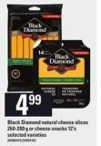 Black Diamond Natural Cheese Slices - 260/280 G Or Cheese Snacks - 12's