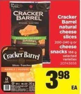 Cracker Barrel Natural Cheese Slices - 200-240 G Or Cheese Snacks - 168 G