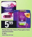 Always Discreet - Tena Or Poise Pad Or Liners - 12-48's