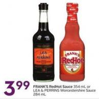 Frank's Redhot Sauce 354 mL or Lea & Perrins Worcestershire Sauce 284 mL