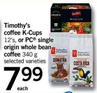 Timothy's Coffee K-cups - 12's - Or PC Single Origin Whole Bean Coffee - 340 G