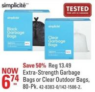 Simplicite Extra-strength Garbage Bags or Clear Outdoor Bags - 80-pk