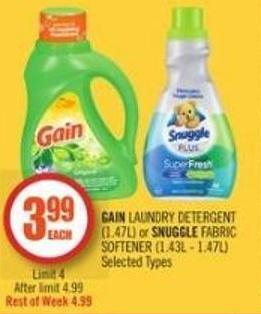 Gain Laundry Detergent (1.47l) or Snuggle Fabric Softener (1.43l - 1.47l)