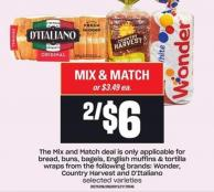 Wonder - Country Harvest And D'italiano Bread - Buns - Bagels - English Muffins & Tortilla Wraps