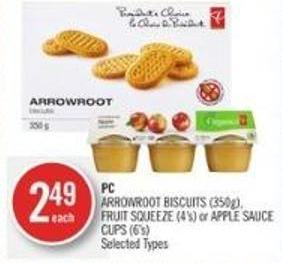 PC Arrowroot Biscuits (350g) - Fruit Squeeze (4's) or Apple Sauce Cups (6's)