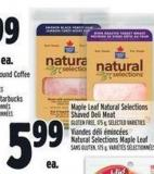 Maple Leaf Natural Selections Shaved Deli Meat Gluten Free175 g