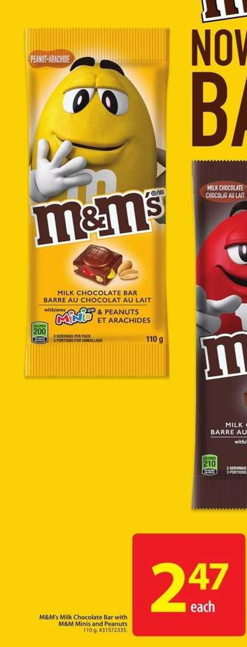 M & M's Milk Chocolate Bar With M&M Minis and Peanuts