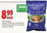 Norwegian Raised Without Antibiotics Steelhead Salmon Portions