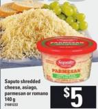 Saputo Shredded Cheese Asiago - Parmesan Or Romano - 140 g