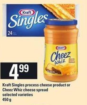 Kraft Singles Process Cheese Product Or Cheez Whiz Cheese Spread - 450 G