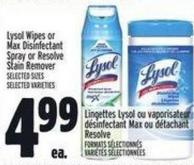 Lysol Wipes Or Max Disinfectant Spray Or Resolve Stain Remover