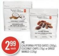 PC California Pitted Dates (200g) - Coconut Chips (70g) or Dried Mango (120g)