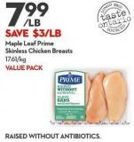 Maple Leaf Prime  Skinless Chicken Breasts