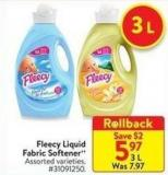 Fleecy Liquid Fabric Softener 3 L