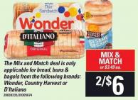 Bread - Buns & Bagels From The Following Brands: Wonder - Country Harvest Or D'italiano