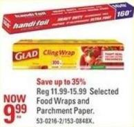 Selected Food Wraps and Parchment Paper