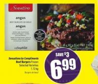Sensations By Compliments Beef Burgers Frozen 1.13 Kg Selected Varieties