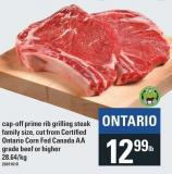 Cap Off Prime Rib Grilling Steak Family Size - Cut From Certified Ontario Corn Fed Canada Aa Grade Beef Or Higher