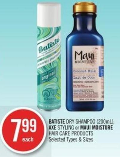 Batiste Dry Shampoo (200ml) - Axe Styling or Maui Moisture Hair Care Products