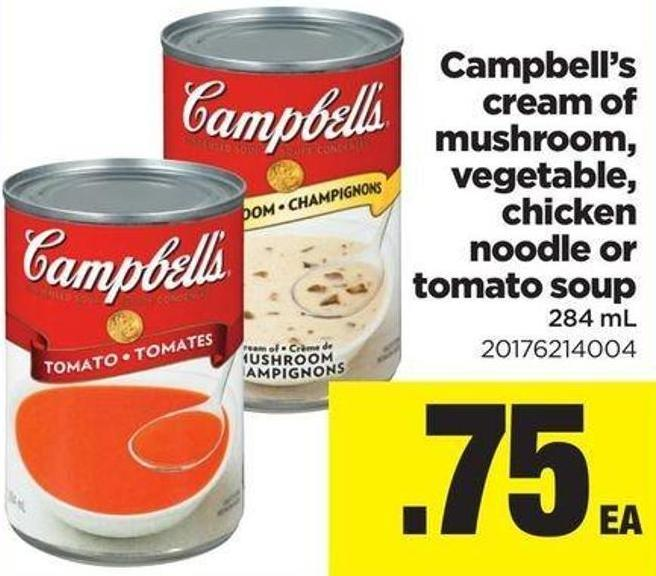 Campbell's Cream Of Mushroom - Vegetable - Chicken Noodle Or Tomato Soup - 284 Ml