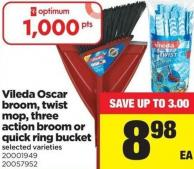 Vileda Oscar Broom - Twist Mop - Three Action Broom Or Quick Ring Bucket