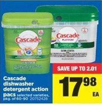 Cascade Dishwasher Detergent Action Pacs - Pkg Of 60-90
