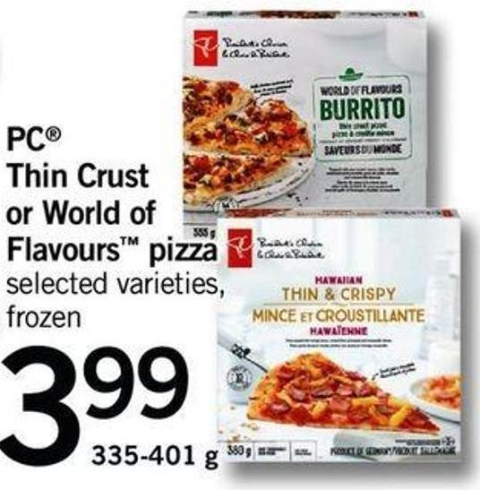 PC Thin Crust Or World Of Flavours Pizza - 335-401 G