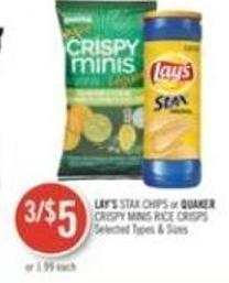 Lay's Stax Chips or Quaker Crispy Minis Rice Crisps