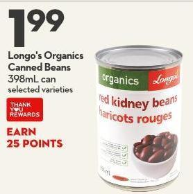 Longo's Organics  Canned Beans 398ml Can