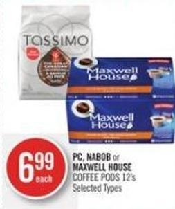 PC - Nabob or Maxwell House Coffee PODS 12's