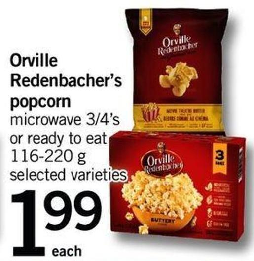 Orville Redenbacher's Popcorn Microwave 3/4's Or Ready To Eat 116-220 G