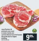 Cap Off Prime Rib Premium Oven Roast Or Steak - Family Size Cut From Ontario Corn Fed Canada Aa Grade Beef Or Higher