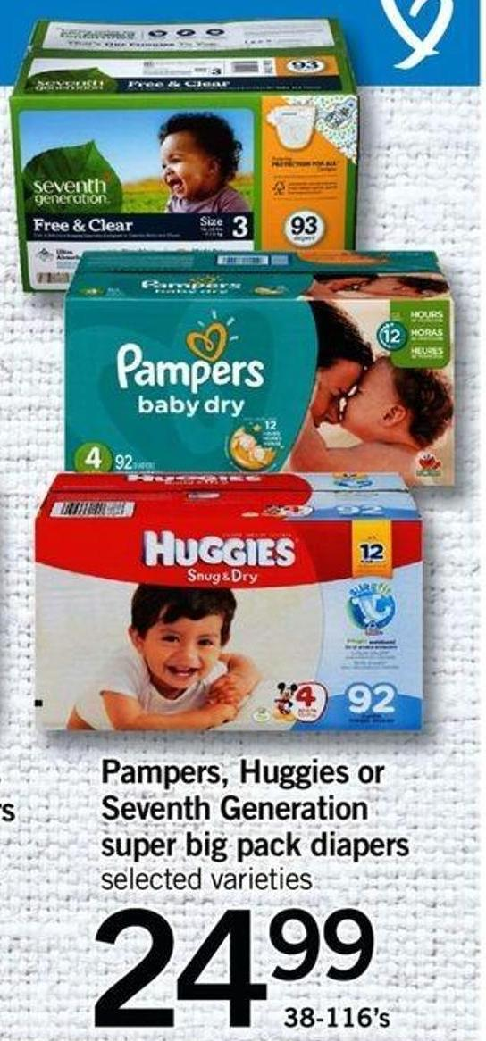 Pampers - Huggies Or Seventh Generation Super Big Pack Diaper - 38-116's